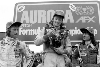 Podium: winner David Kennedy, Wolf WR4, second place Guy Edwards, Fittipaldi F5A, third place Desire Wilson, Tyrrell 008