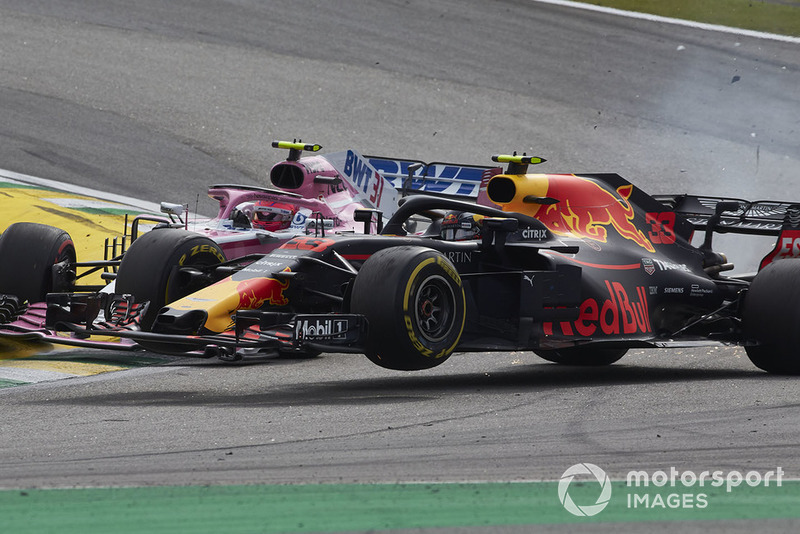 Verstappen and Ocon crash