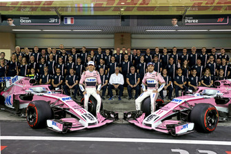Esteban Ocon, Racing Point Force India and Sergio Perez, Racing Point Force India at Racing Point Force India F1 Team Photo