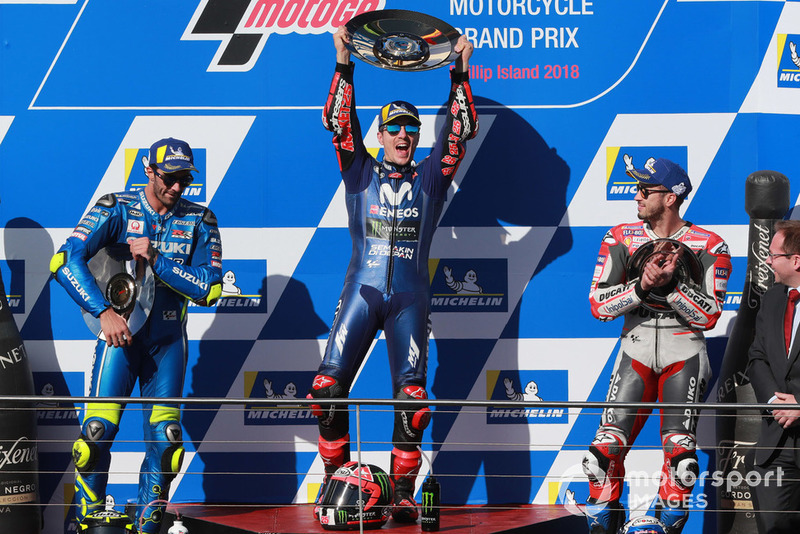 Podium: race winner Maverick Viñales, Yamaha Factory Racing, second place Andrea Iannone, Team Suzuki MotoGP, third place Andrea Dovizioso, Ducati Team