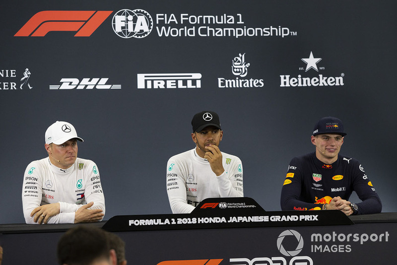 Valtteri Bottas, Mercedes AMG F1, Lewis Hamilton, Mercedes AMG F1 and Max Verstappen, Red Bull Racing in Press Conference