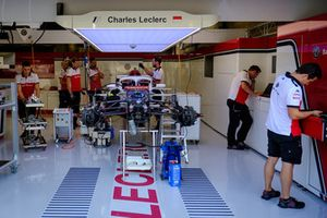 Sauber C37 of Charles Leclerc in the garage