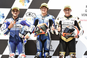 Le top 3 des qualifications : Jorge Martin, Del Conca Gresini Racing Moto3, Marco Bezzecchi, Prustel GP, Albert Arenas, Ángel Nieto Team Moto3