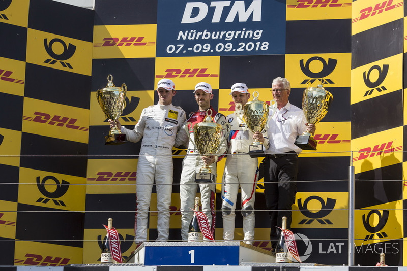 Podium: Race winner René Rast, Audi Sport Team Rosberg, second place Paul Di Resta, Mercedes-AMG Team HWA, Mercedes-AMG C63 DTM and third place Marco Wittmann, BMW Team RMG, BMW M4 DTM