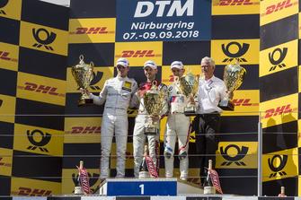 Podium: Winnaar René Rast, Audi Sport Team Rosberg, nummer twee Paul Di Resta, Mercedes-AMG Team HWA, Mercedes-AMG C63 DTM en nummer drie Marco Wittmann, BMW Team RMG, BMW M4 DTM