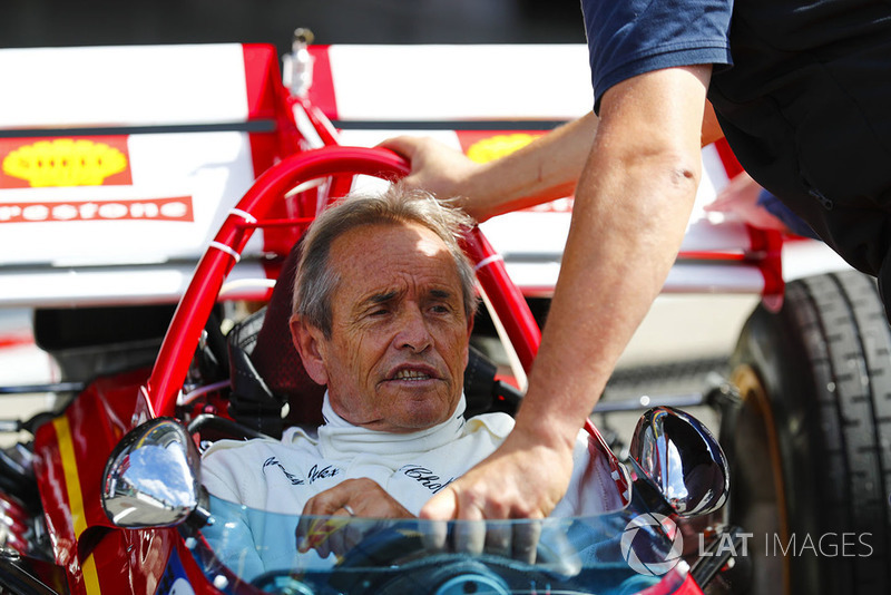Belgian racing legend Jacky Ickx demonstrates a Ferrari 312B