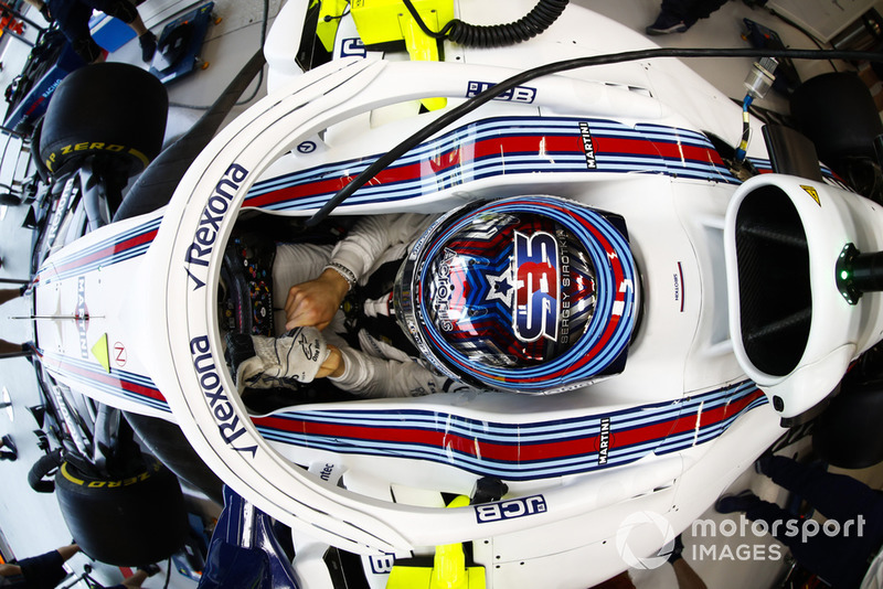 Sergey Sirotkin, Williams Racing, adjusts his gloves in cockpit