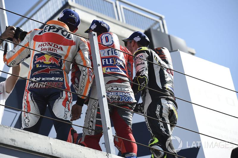 2018: 1. Andrea Dovizioso, 2. Marc Márquez, 3. Cal Crutchlow