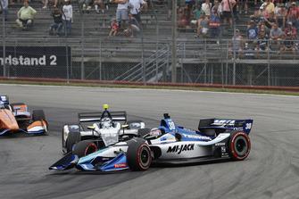 Max Chilton, Carlin Chevrolet spins Takuma Sato, Rahal Letterman Lanigan Racing Honda, crash