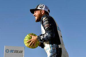 Ross Chastain, Chip Ganassi Racing, Chevrolet Camaro DC Solar celebrates his win