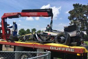 Car of James Hinchcliffe, Arrow Schmidt Peterson Motorsports Honda, after his crash