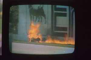 Crash of Gerhard Berger, Ferrari on a monitor