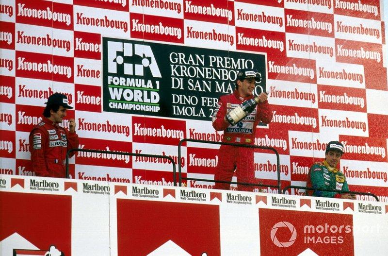 Podium: Race winner Ayrton Senna, McLaren, second place Alain Prost, McLaren, third place Alessandro Nannini, Benetton B188