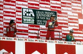 Podium: 1. Ayrton Senna, 2. Alain Prost, 3. Alessandro Nannini