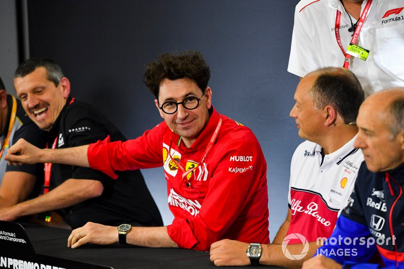 Guenther Steiner, Team Principal, Haas F1, Mattia Binotto, Team Principal Ferrari, Frederic Vasseur, Team Principal, Alfa Romeo Racing, and Franz Tost, Team Principal, Toro Rosso, in the team principals Press Conference