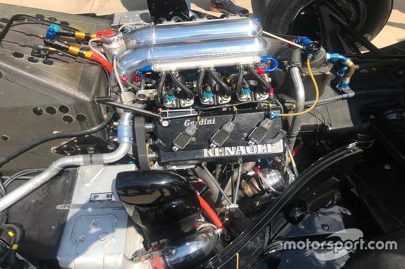 Dettaglio del motore Renault della Lotus 97T di Ayrton Senna