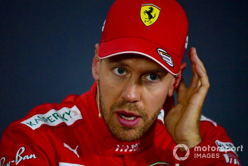 Sebastian Vettel, Ferrari, durante la conferenza stampa post Qualifiche