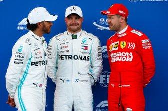 Polesitter Valtteri Bottas, Mercedes AMG F1, second place Lewis Hamilton, Mercedes AMG F1, third place Sebastian Vettel, Ferrari