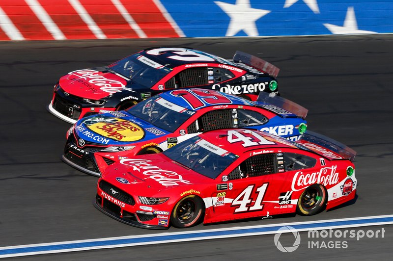 Daniel Suarez, Stewart-Haas Racing, Ford Mustang Coca-Cola Martin Truex Jr., Joe Gibbs Racing, Toyota Camry Bass Pro Shops / TRACKER ATVs & Boats / USO Austin Dillon, Richard Childress Racing, Chevrolet Camaro Coca-Cola Zero Sugar