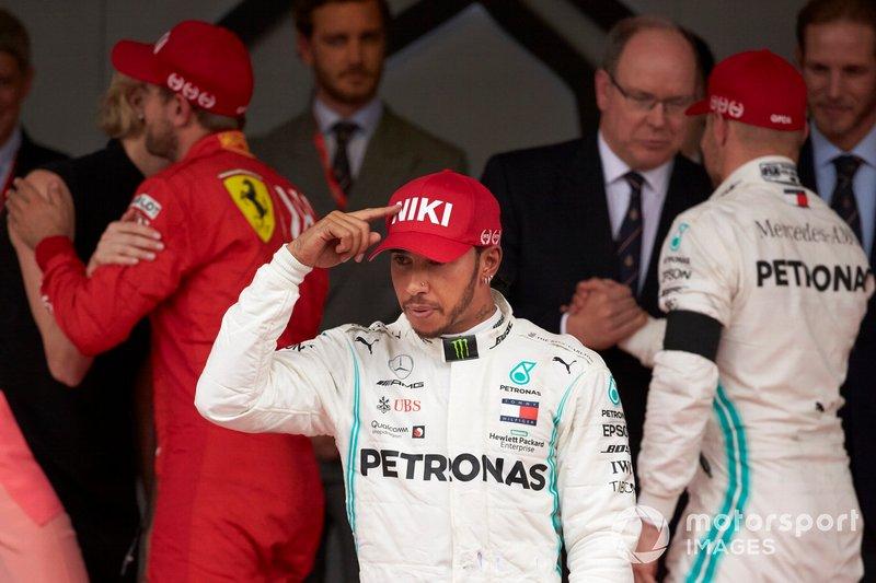 Lewis Hamilton, Mercedes AMG F1, 1st position, celebrates on the podium