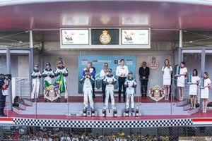 PRO AM podium: Winner Yaqi Zhang, Team China, Bandar Alesayi, Saudi Racing, 2nd position, Célia Martin, Viessman Jaguar eTROPHY Team Germany, 3rd position