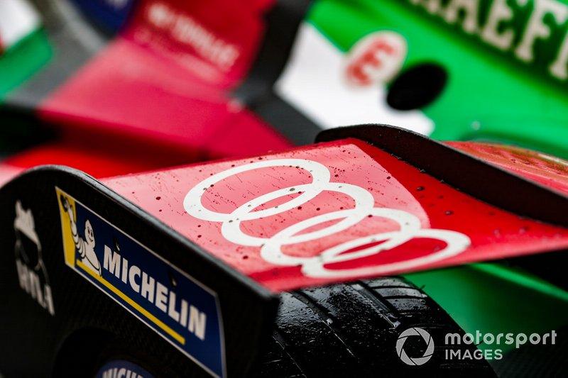 Gocce di pioggia sull'ala posteriore della monoposto di Lucas Di Grassi, Audi Sport ABT Schaeffler, Audi e-tron FE05 car