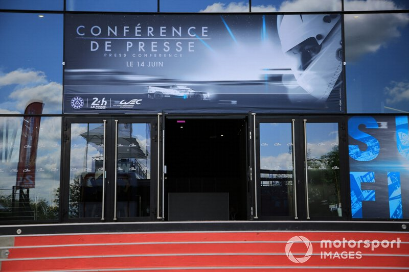 Press conference entrance