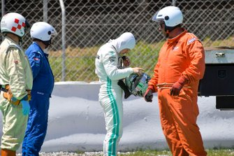 Nikita Mazepin, private tester, Mercedes AMG F1 after stopping on track