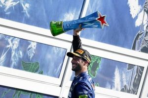 Daniel Ricciardo, McLaren, 1st position, leaves the podium with his trophy