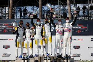 #4: Corvette Racing Corvette C8.R, GTLM: Tommy Milner, Nick Tandy, winners, podium, #3: Corvette Racing Corvette C8.R, GTLM: Antonio Garcia, Jordan Taylor, #79: WeatherTech Racing Porsche 911 RSR - 19, GTLM: Cooper MacNeil, Mathieu Jaminet