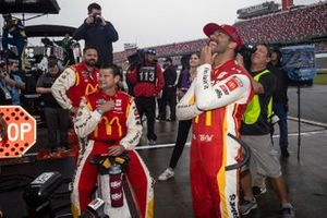 Bubba Wallace, 23XI Racing, Toyota Camry McDonald's with his crew during the rain delay