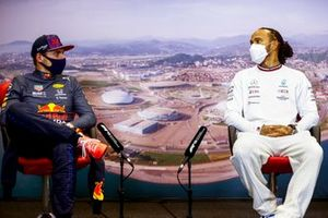 Max Verstappen, Red Bull Racing, 2nd position, and Lewis Hamilton, Mercedes, 1st position, in the post race Press Conference