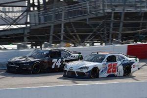 Carson Ware, Mike Harmon Racing, Chevrolet Camaro and Colin Garrett, Sam Hunt Racing, Toyota Supra Mohawk Matt