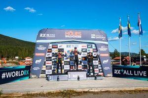 Podium: Winner Timmy Hansen, Hansen World RX Team Peugeot 208, second place Kevin Hansen, Hansen World RX Team Peugeot 208, third place Kevin Abbring, Unkorrupted Renault Mégane RS