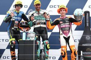 Dennis Foggia, Leopard Racing, Niccolo Antonelli, Reale Avintia Moto3, Andrea Migno, Rivacold Snipers Team sul podio