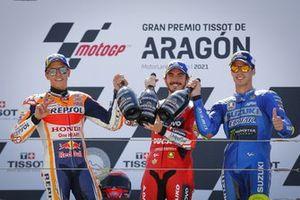 Podio: Ganador de la carrera Francesco Bagnaia, Equipo Ducati, segundo lugar Marc Márquez, Equipo Repsol Honda, tercer lugar Joan Mir, Equipo Suzuki MotoGP