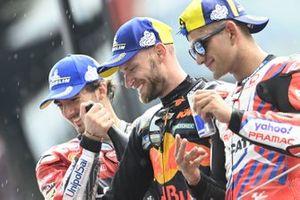Brad Binder, Red Bull KTM Factory Racing, Francesco Bagnaia, Ducati Team, Jorge Martin, Pramac Racing podium