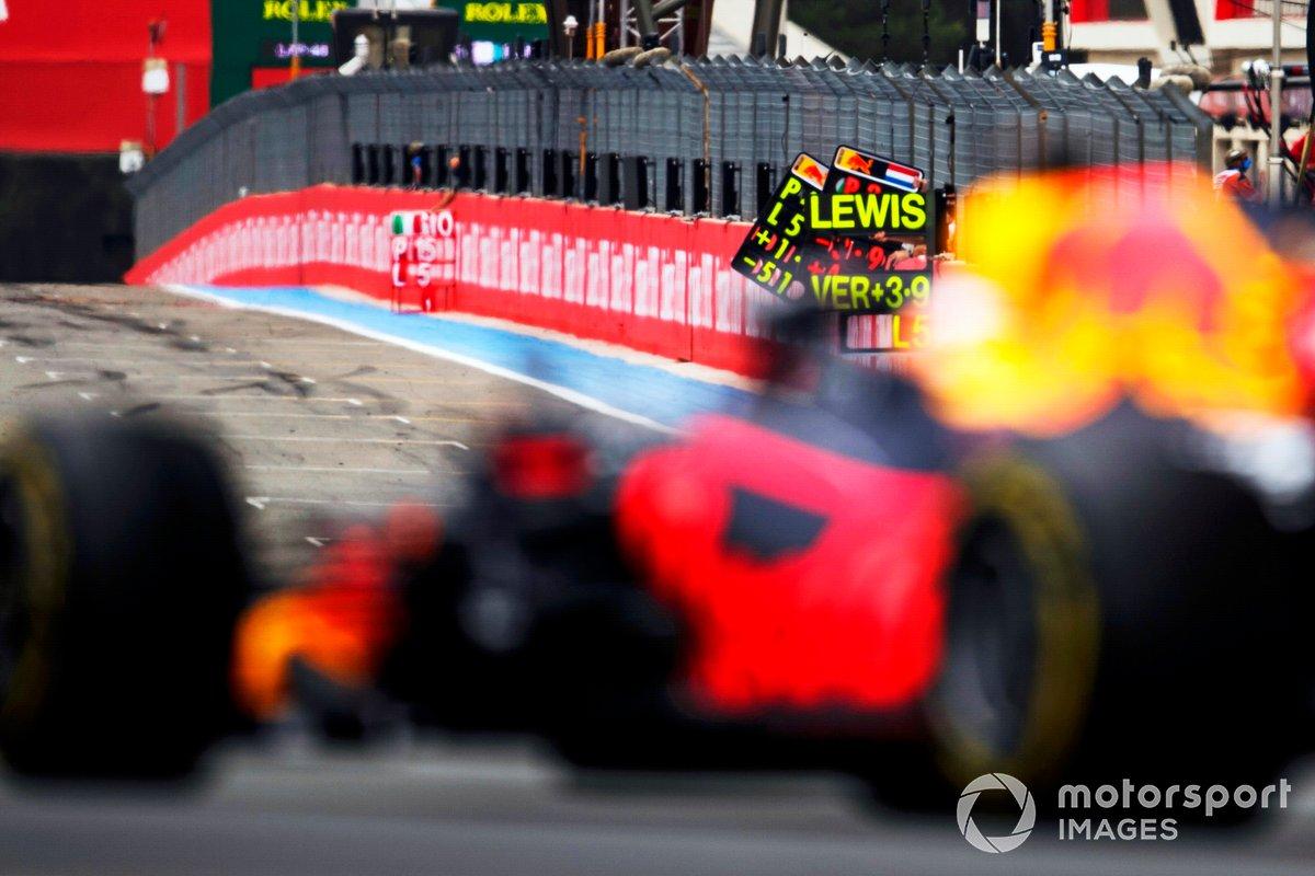 Pit board esposta per Max Verstappen, Red Bull Racing RB16B