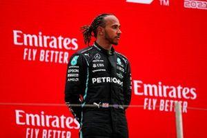 Lewis Hamilton, Mercedes, 2nd position, on the podium