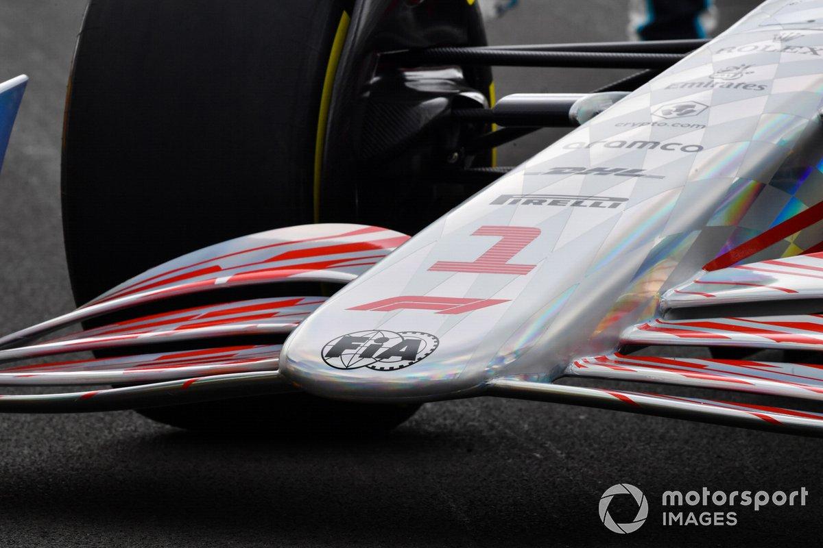 Detalle de frente del coche de Fórmula 1 2022