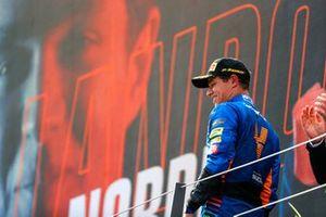 Lando Norris, McLaren, 3rd position, on the podium
