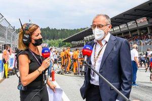 Natalie Pinkham, Sky Sports, interviews Stefano Domenicali, CEO, Formula 1, on the grid