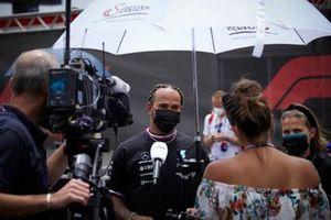 Lewis Hamilton, Mercedes, is interviewed