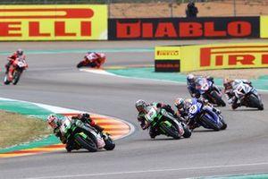 Jonathan Rea, Kawasaki Racing Team WorldSBK, Alex Lowes, Kawasaki Racing Team WorldSBK, Garrett Gerloff, GRT Yamaha WorldSBK Team