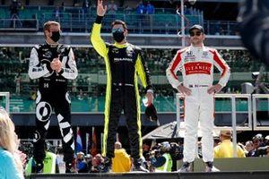 Sebastien Bourdais, A.J. Foyt Enterprises Chevrolet, Simon Pagenaud, Team Penske Chevrolet, Marco Andretti, Andretti Herta-Haupert w/Marco & Curb-Agajanian Honda