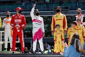 Helio Castroneves, Meyer Shank Racing Honda, Alexander Rossi, Andretti Autosport Honda, Marcus Ericsson, Chip Ganassi Racing Honda