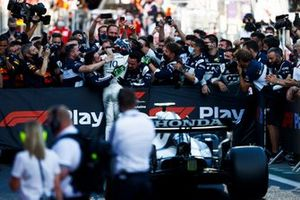 Pierre Gasly, AlphaTauri, 3rd position, celebrates with his team in Parc Ferme