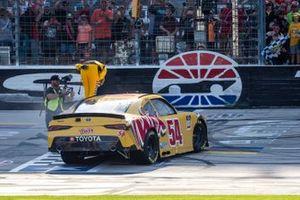 Kyle Busch, Joe Gibbs Racing, Toyota Supra Twix celebrates his victory