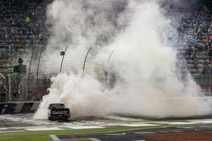 John Hunter Nemechek, Kyle Busch Motorsports, Toyota Tundra Mobil 1 celebrates his victory