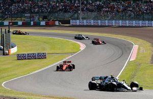 Valtteri Bottas, Mercedes AMG W10, leads Sebastian Vettel, Ferrari SF90, Charles Leclerc, Ferrari SF90, and Lewis Hamilton, Mercedes AMG F1 W10